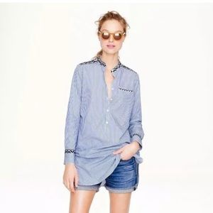 J. Crew Women's Blouse Embroidered Tunic In Stripe